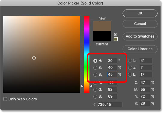 Choosing a sepia color from Photoshop's Color Picker.
