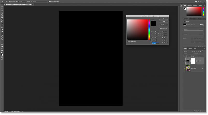 The image is temporarily blocked by the active color in the Color Picker.