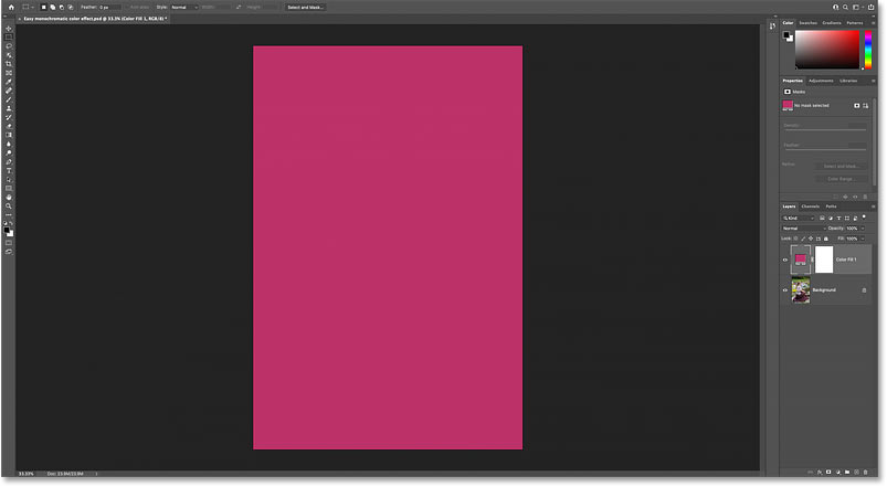 The image is still blocked by the Solid Color fill layer.
