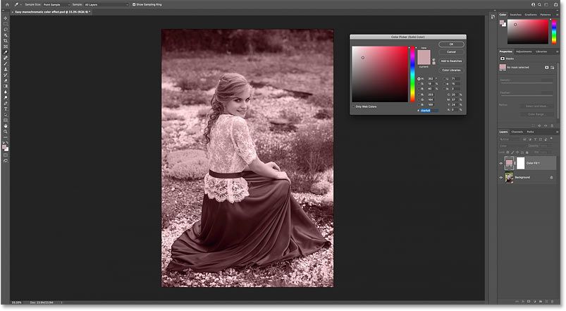 The image is colored with the sampled color from the image.