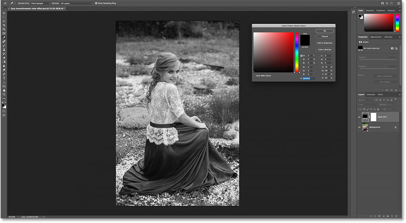 Setting the Solid Color fill layer to black converts the photo to black and white.
