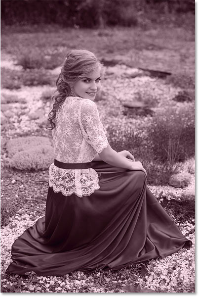 A monochromatic color effect added to an image in Photoshop.