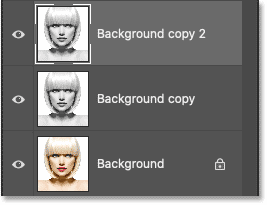 The new Background copy 2 layer appears above the other layers.