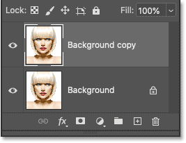 A Background copy layer appears above the original Background layer