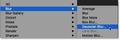 Selecting the Gaussian Blur filter in Photoshop.