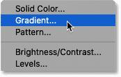 Choosing a Gradient fill layer.