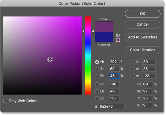 Choosing a different color from the Color Picker.
