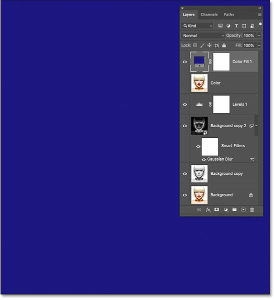 The selected color fills the document