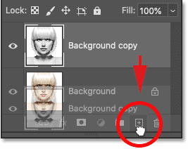 Dragging the Background copy layer onto the New Layer icon.