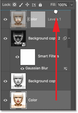 The Color layer now sits at the top of the layer stack.