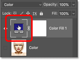 Double-clicking the fill layer's color swatch in Photoshop's Layers panel