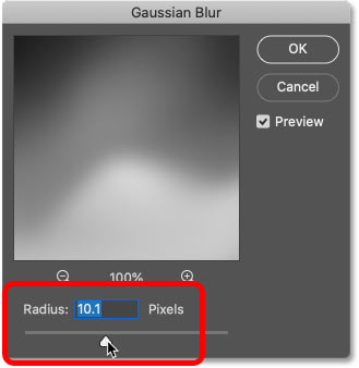 Setting a low radius value in Photoshop's Gaussian Blur dialog box.