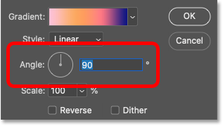 The Angle option for the gradient in Photoshop