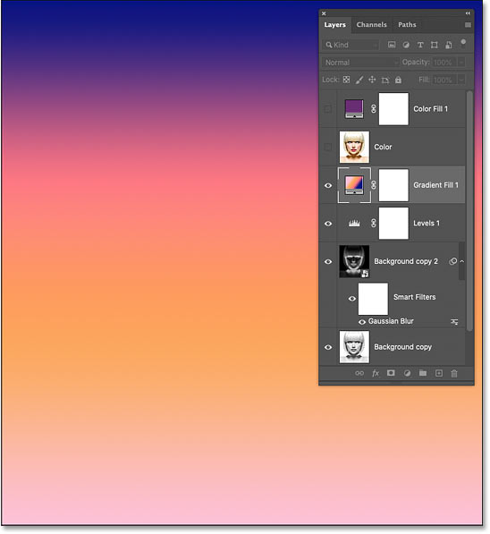 The selected gradient blocking the sketch from view
