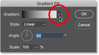 Clicking the arrow to the right of the gradient swatch in Photoshop's Gradient Fill dialog box.