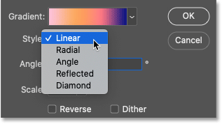 The gradient style options in Photoshop