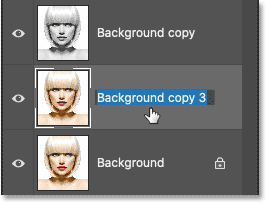 Double-clicking on the layer's name to highlight it.