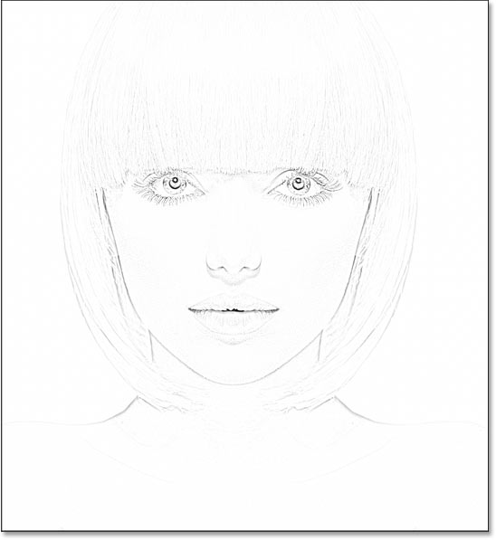 The photo to sketch effect using a low Radius value