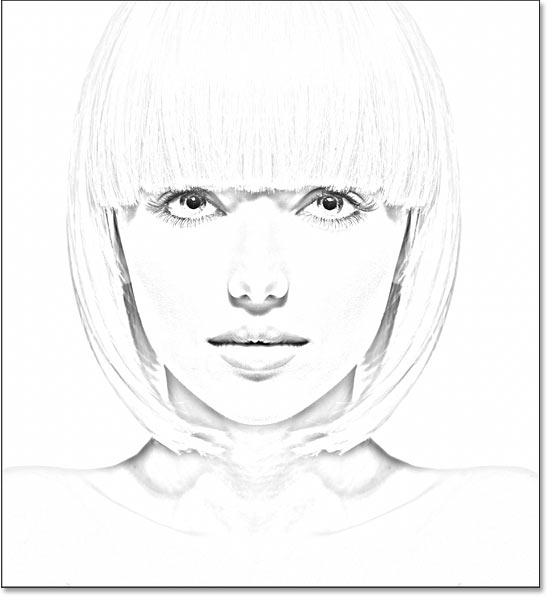 The photo to sketch effect in using a large Radius value.