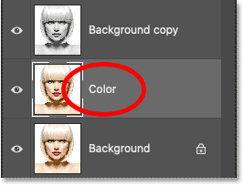 Changing the layer's name to Color.