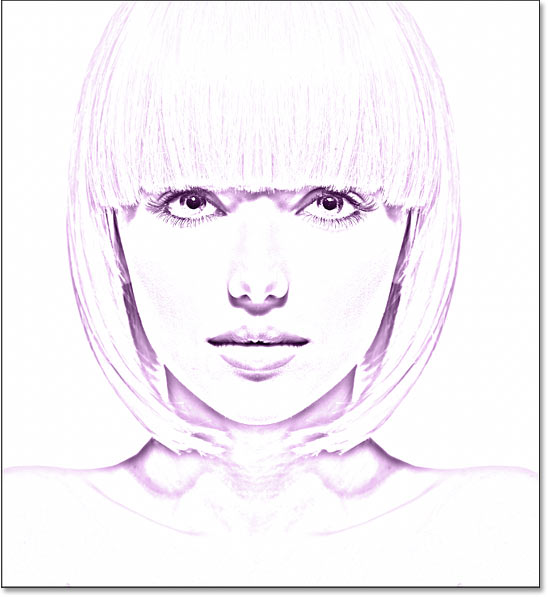 The photo to sketch effect colored with purple