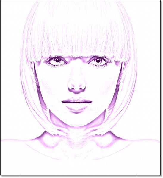 The photo to sketch effect using a single color.