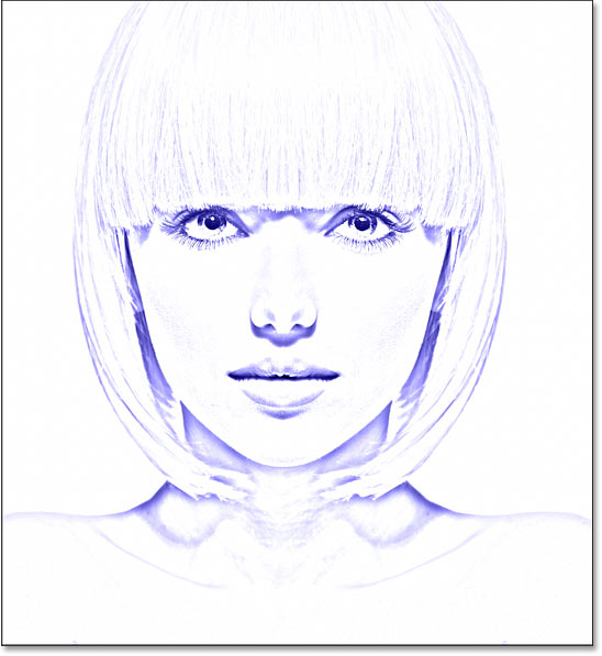 The photo to sketch effect colored with blue