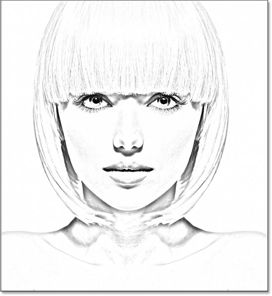 The sketch effect after changing the blend mode to Multiply.