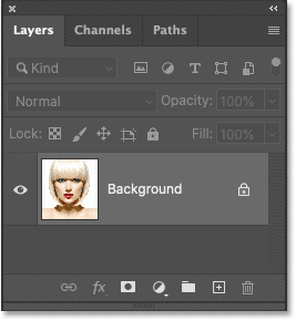 Photoshop's Layers panel showing the photo on the Background layer.