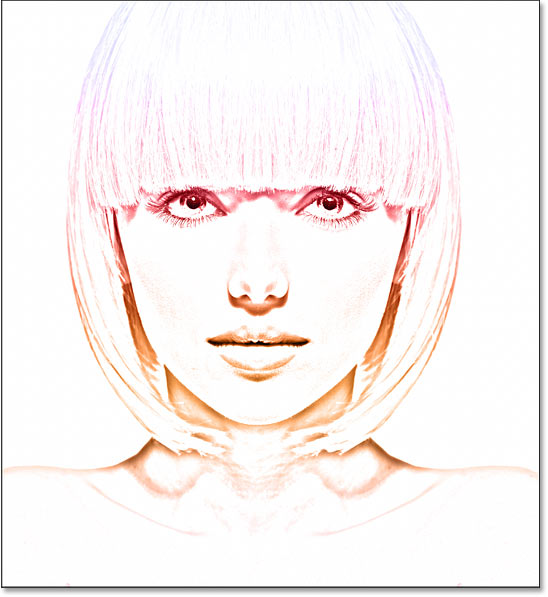 The photo to sketch effect using colors from a gradient