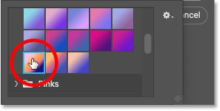 Selecting a gradient from Photoshop's Gradient picker