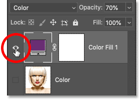 Clicking the fill layer's visibility icon.