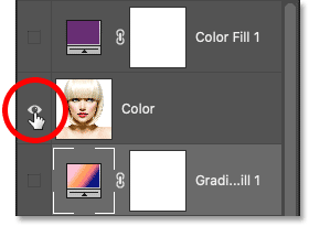 Clicking the Color layer's visibility icon