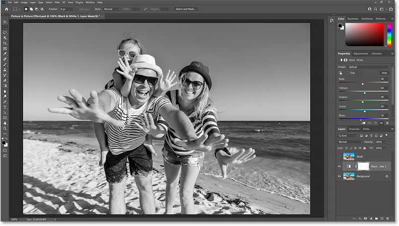 The Black and White adjustment layer converts the image from color to black and white.