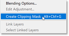 Choosing the Create Clipping Mask command.