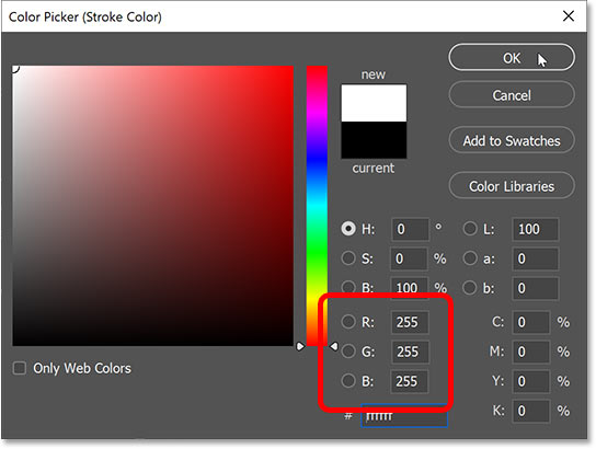 Setting the stroke color to white in Photoshop's Color Picker.