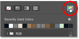 Clicking the Color Picker icon to choose a shape color.