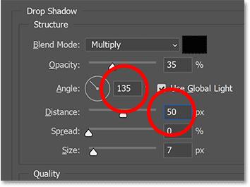 Setting the Angle and Distance of the drop shadow in Photoshop's Layer Style dialog box