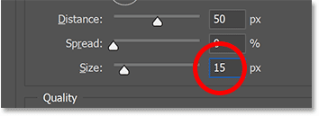 Softening the shadow edges by increasing the Size value.