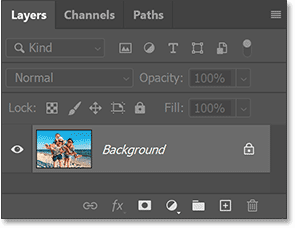 Photoshop's Layers panel showing the original image on the Background layer.