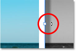 Hovering the mouse cursor outside a handle to switch to the Rotate icon.
