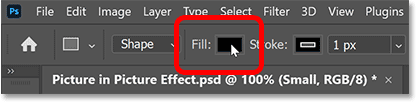 Clicking the Fill color swatch in Photoshop's Options Bar