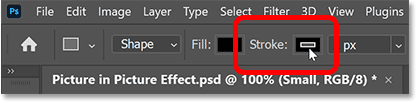 Clicking the Stroke color swatch in Photoshop's Options Bar.