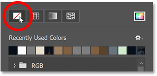 Clicking the No Color option for the stroke.