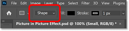 Setting the Tool Mode to Shape in Photoshop's Options Bar