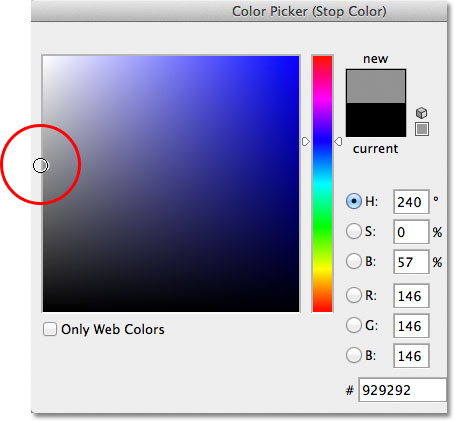 The Color Picker in Photoshop CS6.