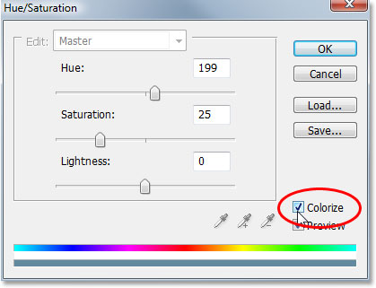 Checking the 'Colorize' option in the bottom right corner of the Hue/Saturation dialog box.