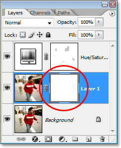 Photoshop's Layers palette showing the layer mask thumbnail on 'Layer 1'.