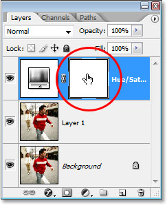 Clicking on the Hue/Saturation adjustment layer's layer mask thumbnail.
