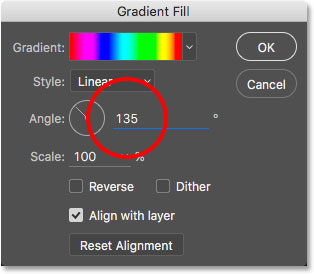 Changing the angle of the gradient.